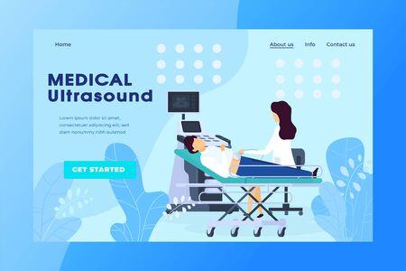 Ultrasound examination in medical clinic, pregnancy healthcare website vector illustration