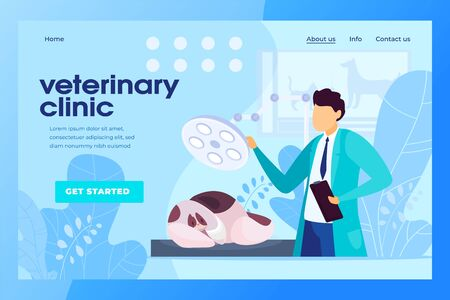 Veterinary clinic website design, animal doctor hospital, vector illustration