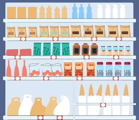 Supermarket shelf full of different products, grocery store assortment vector illustration