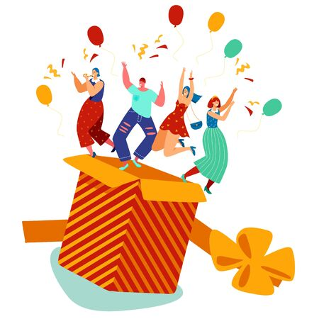 People jump out of the box, birthday party present, vector illustration. Happy men and women celebrating birthday or new year, fun surprise for friends. Gift box cartoon characters, party celebration
