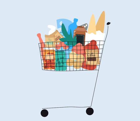 Shopping cart full of products from grocery store, vector illustration. Hand drawn food and household items in simple flat style. Assortment of groceries from supermarket in shopping card, store sale Stock Illustratie