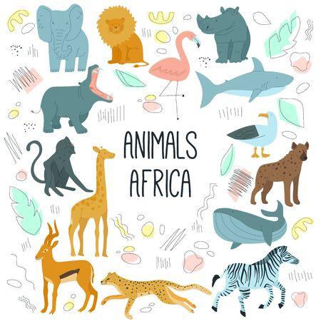 African animals hand drawn cartoon characters vector illustration