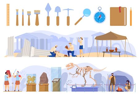 Archaeological excavations in antique ruins, history museum exhibition vector illustration Illustration