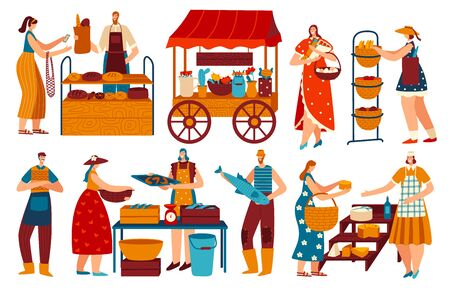 People on marketplace, buying and selling healthy local food, vector illustration. Men and women on market, baker selling bread, people buying seafood and cheese. Isolated cartoon character flat style