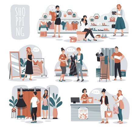 Woman shopping in fashion store, people in boutique, vector illustration. Cartoon characters choosing clothes in fashion shop, woman trying on dress and shoes. Clothes collection sale in boutique