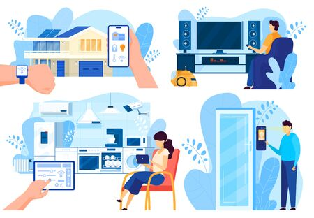 Smart house technologies, people controlling home systems remotely, vector illustration Vecteurs