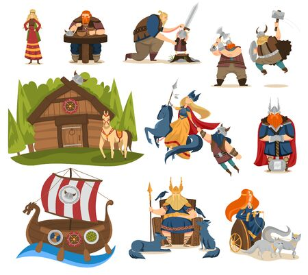Viking cartoon characters and gods of norse mythology, people vector illustration Illustration