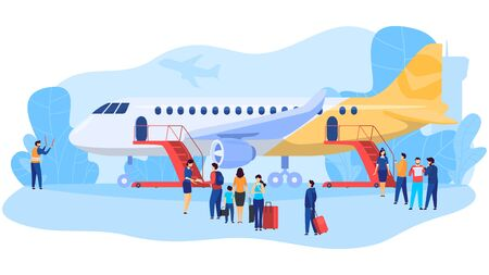 Passengers boarding airplane, people at airport, vector illustration