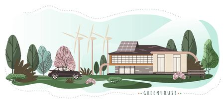 Eco friendly house with modern technologies, vector illustration. Renewable energy, sustainable power from wind turbines and solar panels. Modern house in natural environment, eco friendly lifestyle