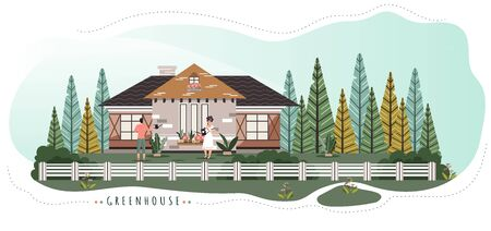 Romantic couple live in cute cottage in forest, vector illustration. Cozy home near nature, man and woman watering flowers. Happy couple live in cozy countryside house, people enjoy summer nature
