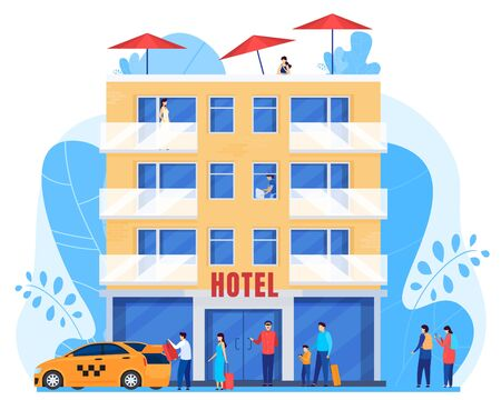 People arrive to hotel, men and women with baggage, vector illustration