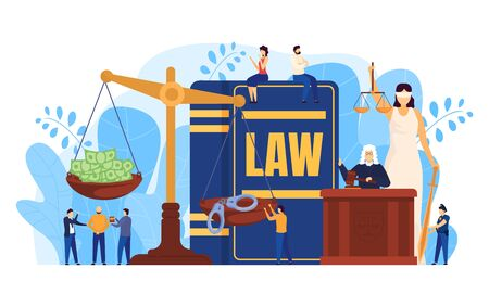 Law concept, judge and lawyers in courtroom, scales symbol of justice, people vector illustration