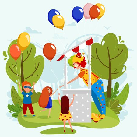 Cheerful clown gives party balloons to happy children, people vector illustration Stock Vector - 142516452