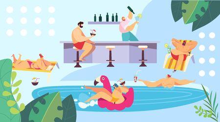 People relaxing at pool near bar, summer vacation resort, vector illustration Ilustração
