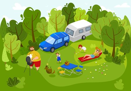 Happy family on picnic, summer outdoor leisure together, vector illustration. Father grilling barbecue, mother suntanning, children playing with dog and picking flowers. Family recreation trip, people Imagens - 142516620