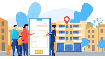 Online apartment rental service, mobile application, people vector illustration 向量圖像