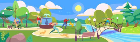 People in summer park playing with dogs and go in for sports, vector illustration