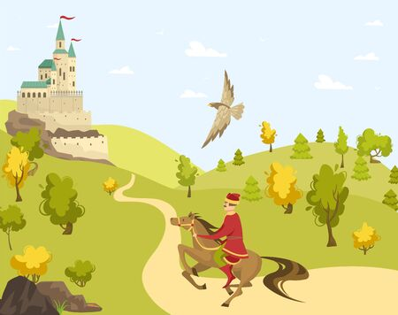 Prince rider horse to castle, eagle fly, palace cartoon vector illustration. Field with green grass, tree, blue sky. Route to fortress.