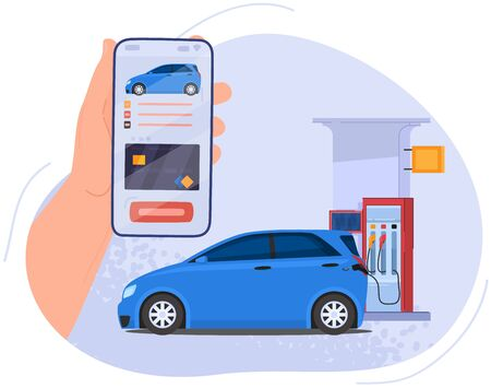 Online bonus system, gas station for filling car gasoline, hand hold mobile phone with application, isolated on white, flat vector illustration. Design web banner, poster and postcard.