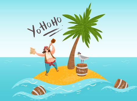 Pirate say yo ho ho on island drink alcohol, rum, seagull sit on barrel, palm tree flat vector illustration. Design lonely criminal, buccaneer male character on isle, web banner, template.