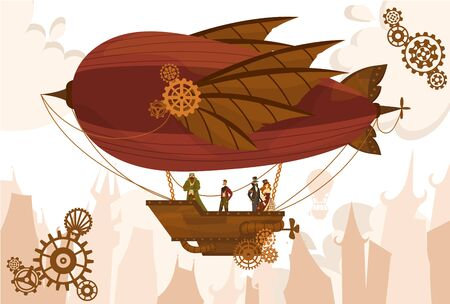 Team characters on balloon, steampunk airship, flat vector illustration. Air transport, gears, vintage, antique design web banner, template. Silhouette background old city, cloud sky.