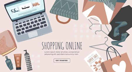 Shopping online banner, poster. Laptop, package, hanger, blouse, vector illustration. Get started button, design for website.