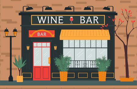 Wine bar, city street and urban scape, cozy building, vintage door and window, flat vector illustration. Place for rest, relaxation.