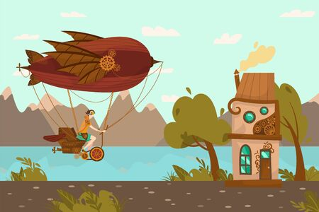Character female on steampunk airship, balloon, flat vector illustration. Air transport design, gears, vintage web banner.
