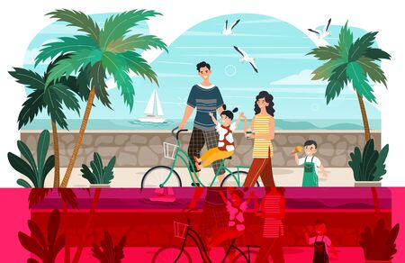 Character man, woman, kid, summer family walking, bike travel, rest promenade, flat vector illustration. Father, mother, kid walk seafront, ocean shore, vacation and holiday. Design web banner.