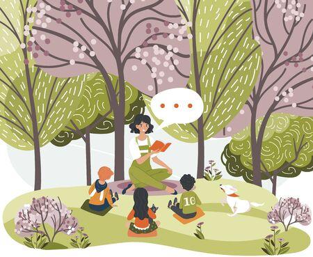 Weibliche Charaktere lesen Buch, erzählen Geschichten für Kinder, Frauen, Kinder, Hundesitting-Wald, Stadtpark, Grasplatz, Vektorillustration. Design-Web-Banner, Vorlage. Baumgarten, fröhlich entspannen. Vektorgrafik
