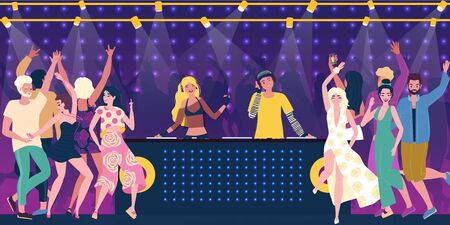 Company party characters of human, man and woman in nightclub, young people drink alcohol, flat vector illustration. Bartender bar treat alcohol. Billboard night club, youth hangout, night life.