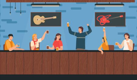 Characters male, female sit in music beer bar, alcohol party night, adult people alcohol consumption, flat vector illustration. Design web banner, template. Rock pub, guitar on wall.