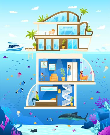 Underwater hotel, family enjoy unusual luxury accommodation, people vector illustration