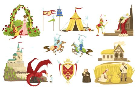 Fairytale story of knights and dragons, Medieval legend, vector illustration. Set of isolated icons, people cartoon characters, king and court jester, peasants, monk. Middle ages fantasy fairy tale