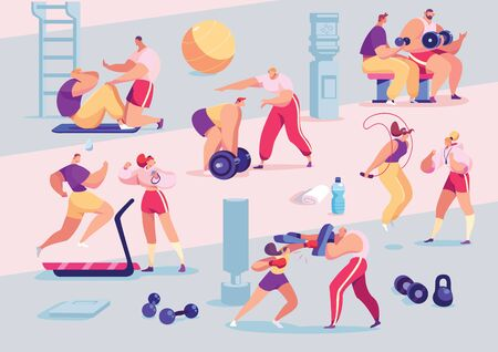 Sport people individual personal trainer coach in gym, cartoon sport characters workout vector illustration. Men women training exercising fitness center active healthy lifestyle. Yoga cardio training