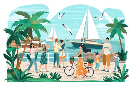 People walking on seaside promenade, summer town recreation, vector illustration. Couple on yacht, man with children, woman with bicycle. People enjoying promenade in seaside town, active lifestyle Vettoriali
