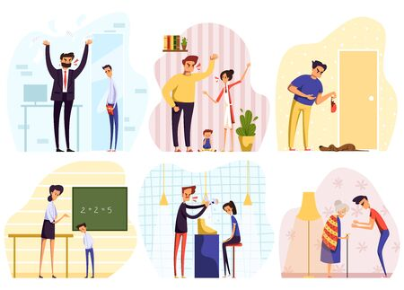 Angry people yelling, conflict at work, in family and at school, vector illustration. Men and women quarrel, problem in relationship, unhappy cartoon characters. People arguing, anger expression set