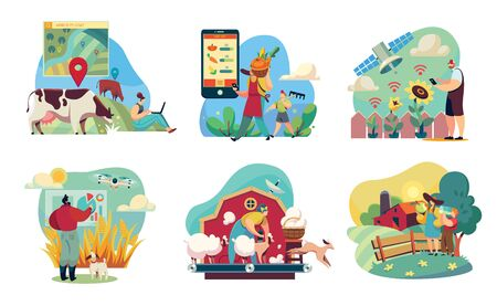 Farm of the future with smart technologies, farmers using modern devices, vector illustration. People cartoon characters, set of stickers. Innovative technologies and futuristic programs for farmers