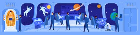 Science fiction spaceship crew on command deck, vector illustration. Team navigating spacecraft in interstellar mission, space exploration of future. People cartoon characters science fiction movie