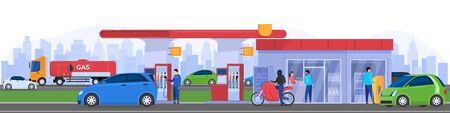 Gas station in city, people refueling cars, vector illustration. City traffic, man in uniform fueling car at petrol station, customer paying for service. People using gas pump, charging electric car
