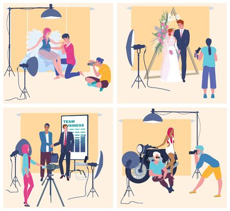Shooting in photo studio, professional photographer with camera, vector illustration. Photo shoot session people in studio, happy romantic couple, pregnant woman, business partner. Cartoon character