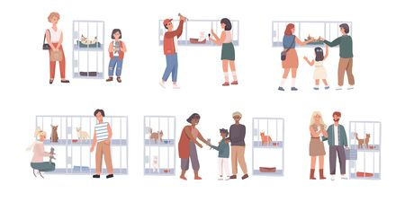 People in pet shelter, family adopting cats, cute animals, vector illustration Ilustração
