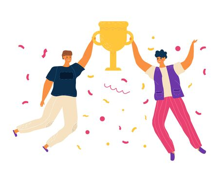 Happy jumping people, woman celebrating victory concept and vector illustration on white background. Female characters jump with cup, confetti after winning the competition. Simple flat style.