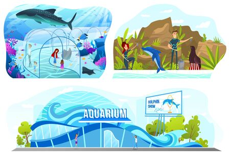 People in aquarium, dolphin show entertainment, vector illustration