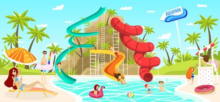 Children having fun in outdoor aquapark pool slide, people vector illustration