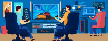 Men playing video games in modern gaming room, people vector illustration Ilustração
