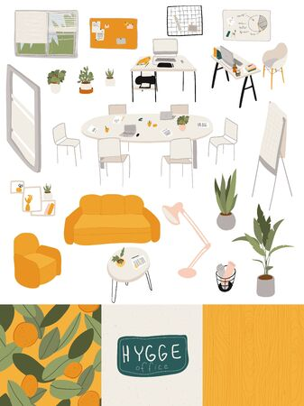 Office in hygge style, furniture and accessories for cozy workplace, vector illustration