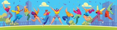 Happy people jumping in city, cartoon characters celebrating together, vector illustration Ilustração