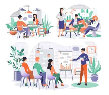 Business team working on project, creative startup cooperation, people vector illustration Ilustração