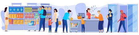 People in grocery store, line at cash desk, supermarket customers, vector illustration